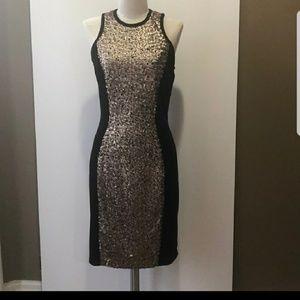 Beautiful Boston Proper Black Velvet Sequin Dress